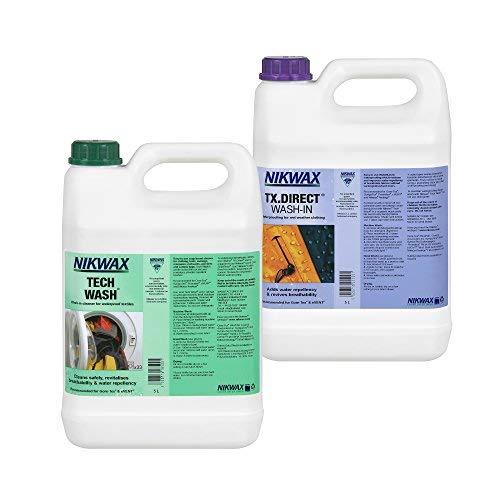 Nikwax Tech Wash und TX Direct, Doppelpack, für die Reinigung und Imprägnierung von Outdoor-Zubehör, 2x 5 Litre