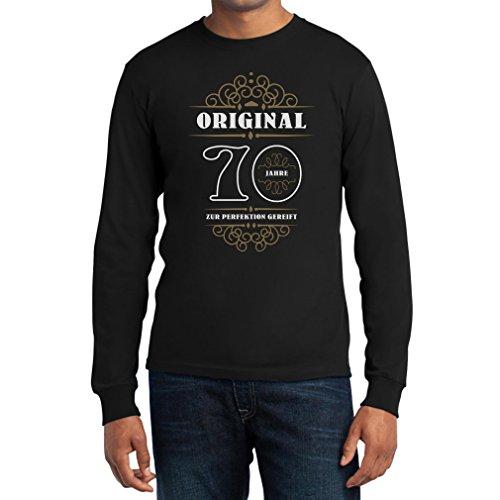 Geburtstag 70 Jahre - Original Zur Perfektion Gereift Geschenk Langarm T-Shirt Schwarz