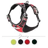 Jamory Hundegeschirr Geschirr mittelgroße Grosse Hunde Brustgeschirr Powergeschirr verstellbar reflektierend (S, Rot)