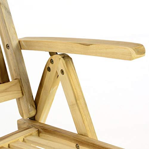 Divero GL05004 Stuhl Gartenstuhl Terrassenstuhl Klappstuhl aus Teak-Holz Hochlehner mit Armlehnen verstellbare Rückenlehne klappbar massiv unbehandelt Natur, Braun