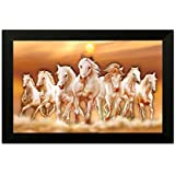 SAF 6546 Seven Running Horses||vastu Painting For Home And Office||Seven Lucky Running Horses Painting || 7 Horses Painting ||seven Horses||vastu Horses||Shyam Art 'N' Frame Exclusive Framed Wall Art Paintings(Wood,35cmx 2Cmx 50Cm Framed Painting)