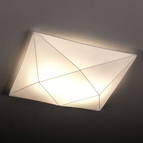 Olé by Fm Iluminación - Lámpara de techo plafón Polaris 80x80 con estructura metálica y tela elástica, color Blanco