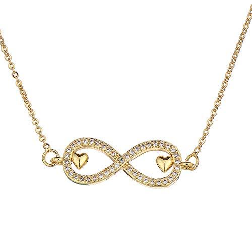 NSXLSCL Halsketten Für Frauen,Elegantes Doppelzimmer Mini Herz Liebe Infinity Anhänger Frauen Halskette Kupfer Zirkonia Kristall Halsketten Kette Schmuck, Gold
