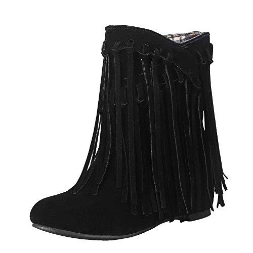 5db90de05941d8 YE Damen Keilabsatz Ankle Boots High Heels Stiefeletten mit Fransen 4cm  Absatz Elegant Schuhe