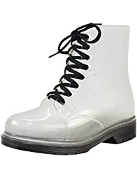 LvRao Mujer Boots de Goma de Lluvia Nieve Calentar Botas de Tobillo Transparente Impermeable Bota Corto con Cordones de Zapatos