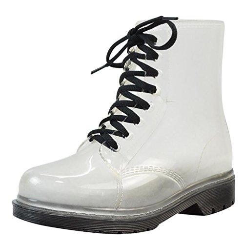 LvRao Damen Schnee Regen Schuhe Warm Transparente Stiefeletten Gefütterte Gummistiefel wasserdichte Kurze Stiefel mit Schnürsenkel Schwarz Europäische Größe 39 (Braune Kurze Stiefel Frauen)
