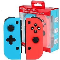 Powcan Mando Nintendo Switch Wireless Controller Gamepad Bluetooth Joystick Controlador Función de DualShock y Turbo -Mando Set, Color Izquierda Azul Y Derecha Rojo