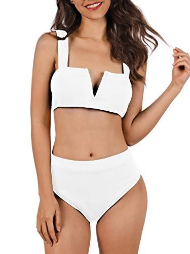Tutorutor Damen 2-teiliges Bikini-Set Casual Lose Solid Crop Tops Hohe Taille Bottom Badeanzug - - Small - Junioren Badeanzug Bikini Bottom