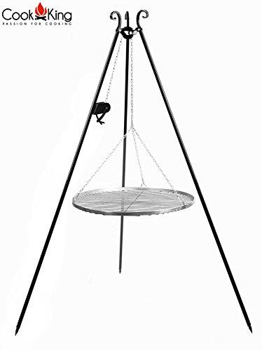 COOK KING Edelstahlrost auf dem 180 cm Dreibein mit Kurbel 70 cm ***NEU***