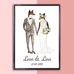 Personalisiertes Bild Fuchs Hochzeit mit oder ohne Rahmen | Hochzeitsgeschenke Geschenkidee | Geschenke für Paare