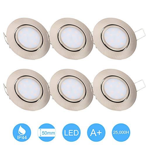 6W LED Empotrable Foco de Techo LED IP44 3000K Blancos Cálidos, Níquel...