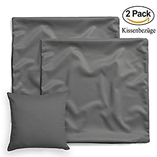 Double pack of pillow cases set of 2 by amato. Home linen pillowcases pillow cases pillowcase pillow sofa cushion bed decoration, grey, 80 x 80 cm 100% cotton Cotton children's bed linen