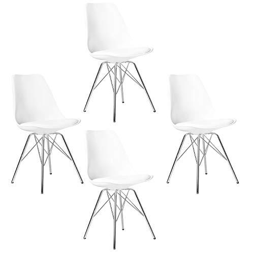 Elightry 4er Set Esszimmerstühle mit verchromter Stahl Bein, Retro Design, Kunstleder Küchenstuhl, Wohnzimmerstuhl, Wei?