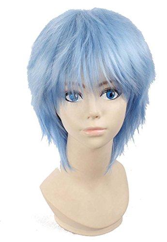 etruke Anime court Bleu clair Cheveux Halloween Cosplay Perruques