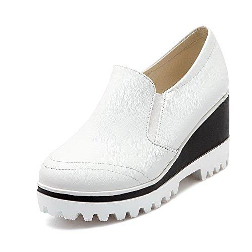 AgooLar Damen Rein Weiches Material Hoher Absatz Ziehen Auf Rund Zehe Pumps Schuhe Weiß
