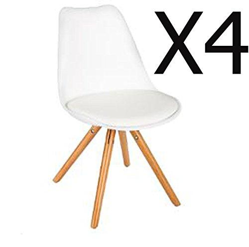 Lot de 4 chaises coloris Blanc - Dim : L. 54 x l. 48 x H. 81 cm -PEGANE-