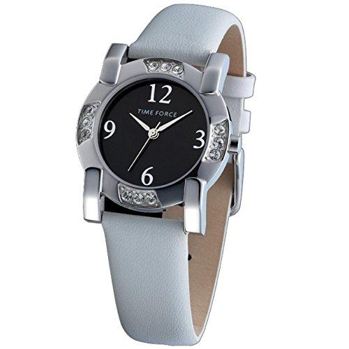 TIME FORCE Orologio señora. Cinghia in bianco, acciaio sfera TF-3166L01 nera