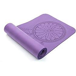 Exerz Colchoneta De Yoga/Gym Mat con una Correa de Transporte y Bolsa - XL 183 x 61 cm / 10 mm Espesor - Alta Densidad/Antideslizante/para Gimnasio/Pilates/Dream Catcher Imprimir (Purpura 2)