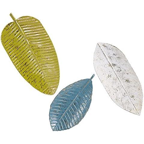 IMAX Palm Beach bandeja de hojas de pared decoración, verde/azul/blanco, juego de 3