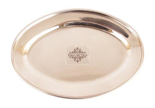 "Indian Art Villa IndianArtVilla 8.0"" X 5.0"" Steel Copper Serveware Oval Serving Plate for Dinner Restaurant Hotel Home Kitchen Dinning Ware Gift item"