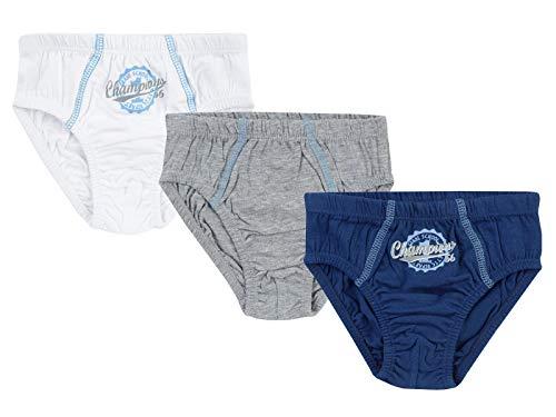 Jacky Jungen Slip Unterhosen, 3er-Pack, Größe: 86/92, Alter: 1-1,5 Jahre, Blau/Weiß/Grau, 710050