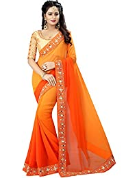 Orange Georgette Designer Embroidred Saree With Blouse