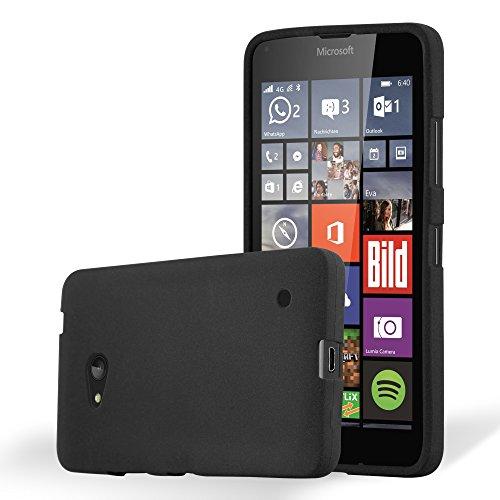Preisvergleich Produktbild Cadorabo Hülle für Nokia Lumia 640 - Hülle in Frost SCHWARZ – Handyhülle aus TPU Silikon im matten Frosted Design - Silikonhülle Schutzhülle Ultra Slim Soft Back Cover Case Bumper