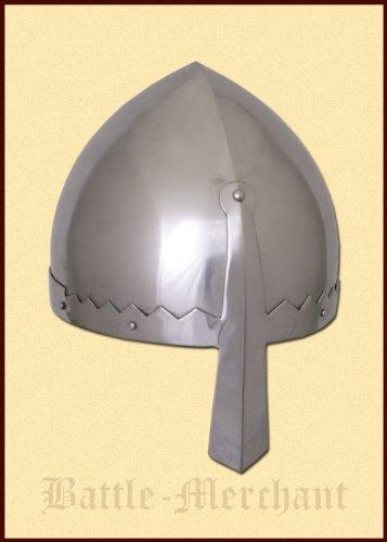 Battle-Merchant Normannischer Nasalhelm mit Lederinlay - Wikingerhelm - Normannen - Helm LARP - Wikinger -