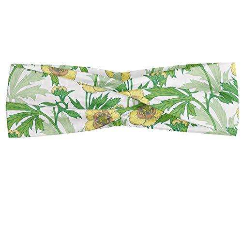abakuhaus fascia per capelli giardinaggio, elastico e morbido per lo sport e l'uso quotidiano per donna, foglie fiori botanica art, verde e giallo pastello