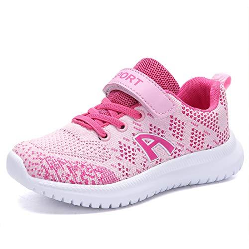 Mädchen Schuhe Sportschuhe Mesh Atmungsaktiv Laufschuhe Outdoor Sport Sneaker Turnschuhe Klettverschluss Wanderschuhe Hallenschuhe für Kinder Rosa 32