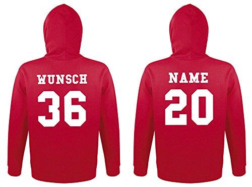 2 Partner Look Hoodies mit Wunschnamen und Wunschzahlen - Pärchen Pullover mit Kapuze (Rot)