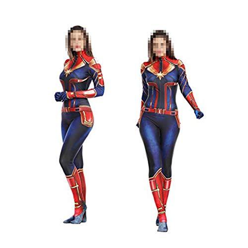 WOLJW Erwachsene Bodysuit Overalls Kleidung Captain Marvel