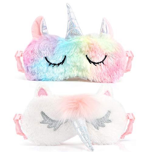 Kesote 2 Stück Einhorn Schlafmaske Augenklappe Unicorn Augenabdeckung Augenblende, Silber und Bunt