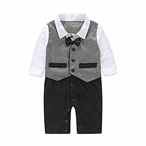 Kingko® 0-24Months Baby Boy Formal Party Christening Wedding Tuxedo Waistcoat Bow Tie Suit (6