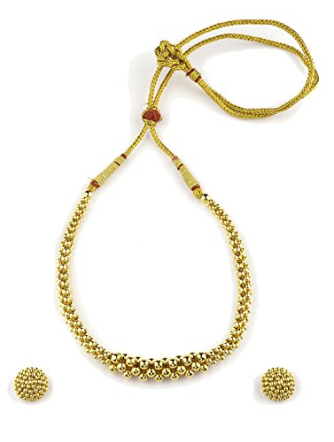 Womens Trendz Traditional Handmade Jewellery Utarband Tushi 24K Gold Plated Alloy Necklace and Earring Set for Women and Girls  available at amazon for Rs.500