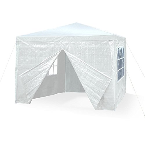 Garden pavilion 3 x 3 m, snow white, all-purpose, pavilion, party tent, garden tent, 3 x side walls with window and entrace with zip