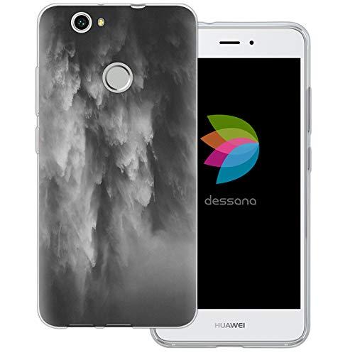 dessana Black & White Transparente Schutzhülle Handy Case Cover Tasche für Huawei Nova Wasserfall Schwarz Weiß -
