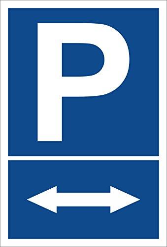 Schild - Pfeil nach links und rechts - Parkplatzschild Parken - 15x20cm, 30x20cm und 45x30cm - Bohrlöcher Aufkleber Hartschaum Aluverbund -S00274