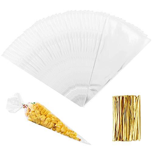 ManLee 200 Cellophantüten Klein Zellophantüten Spitztüten Süßigkeiten Tüten Transparent 18 x 37cm mit 200pcs Twist Krawatten Tütchen für Weihnachten Kindergeburtstag Popcorn Kekse Bonbon