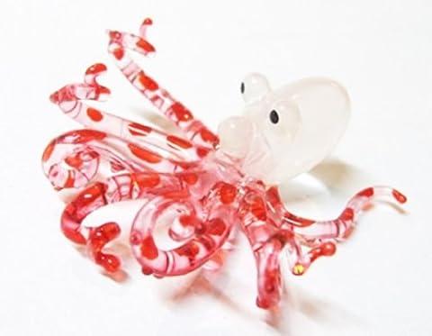 VERRE de Murano COLLECTIBLE MINIATURE main soufflé Art petits poulpes, FIGURINE rouge