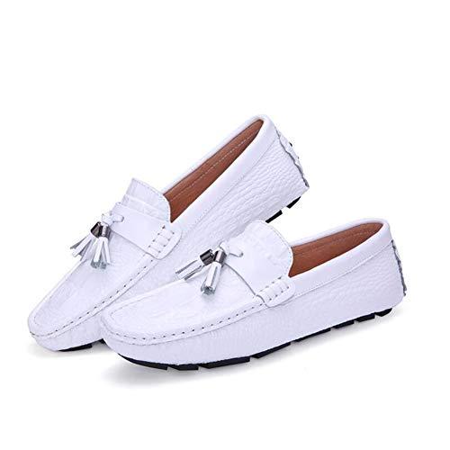 Mens Loafers - Kleid Casual Slipper für Herren - Slip-On Driving Schuhe - Comfort Driving Shoes,White,43 - Mens Kleid-schuhe