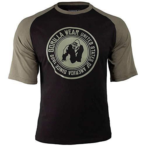 Gorilla Wear Texas T-Shirt - schwarz/Armee Grün- Bodybuilding und Fitness Bekleidung Herren, 4XL