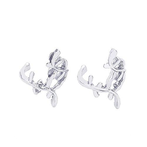 HooAMI Clip D'oreille Femme Forme de Feuille Charme Boucle d'oreille Sans Trou En Alliage Cadeau Unique pour Anniversaire Valentin 13mm