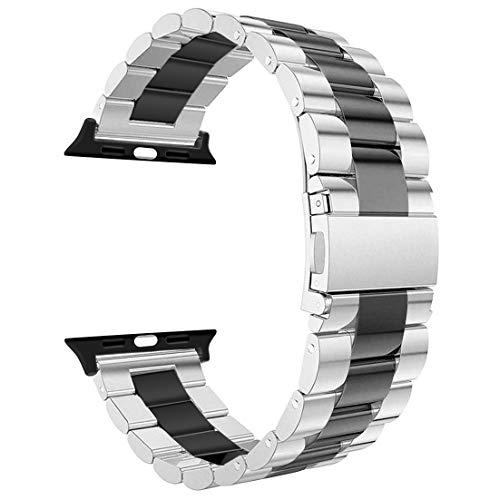 iBazal Armbänder Kompatibel iWatch Series 4 3 2 1 Armband 44mm 42mm Metall Stahl Uhrenarmband Uhrarmband Ersatzarmband Watchband Ersatzband Herren Zubehör - Silber/Schwarz 42mm