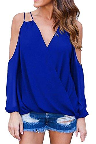 Frauen tiefer V-Ausschnitt aushöhlen Mode T-Shirts Blue