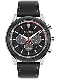 mens watches shop amazon uk citizen watch men s solar powered black dial analogue display and black leather strap ca4348 01e