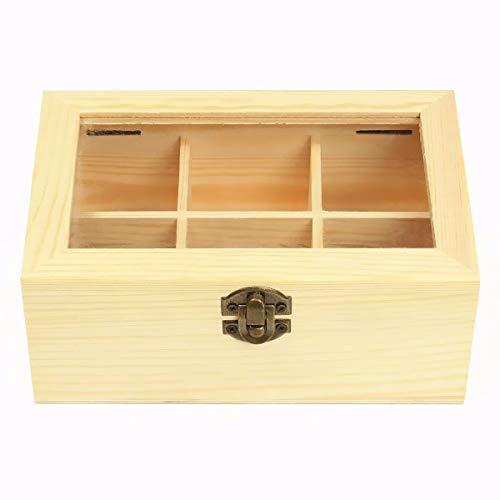DyNamic 6 Fächer Holz Tea Tasche Schmuck Organizer Chest Storage Box Glas Top Log - Log-system