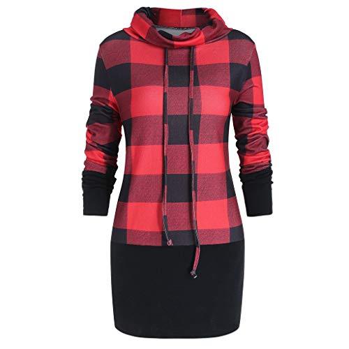 VEMOW Heißer Elegante Damen Plus Size Bluse Cowl Neck Plaid Kordelzug Taste Winter Herbst Hoodie Sweatshirt Tunika Pullover Kleid Tops(X1-Rot, EU-38/CN-L)