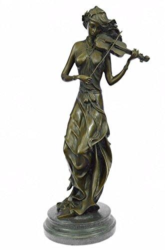 Statua di bronzo Scultura...Spedizione Gratuita...Female musicale Violin Player Art Nouveau Hot Fusioni(YRD-556-UK)Statue Figurine Figurine Nude per ufficio e casa Décor Primo Giorno Collezionismo Ar