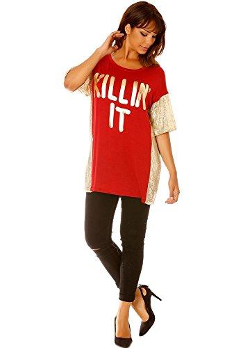 dmarkevous - Tee-shirt long ample rouge femme à empiècement paillettes sur manches et côtés Rouge